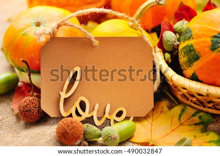 Word LOVE on the background of the label with autumn leaves and acorns