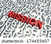 Word Mission in red, salient among other related keywords in white. 3d render illustration. - stock vector