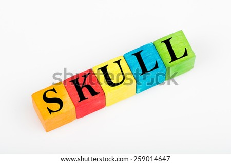 word skull on colorful wooden cubes isolated on white background