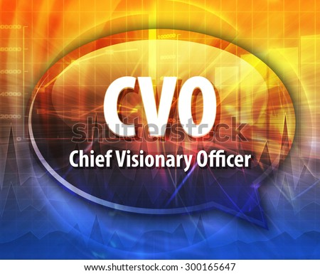 word speech bubble illustration of business acronym term CVO Chief Visionary Officer