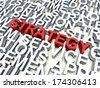 Word Strategy in red, salient among other related keywords concept in white. 3d render illustration.  - stock photo