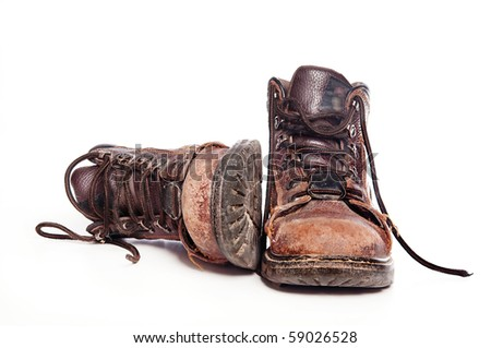 Work boots isolated against white background