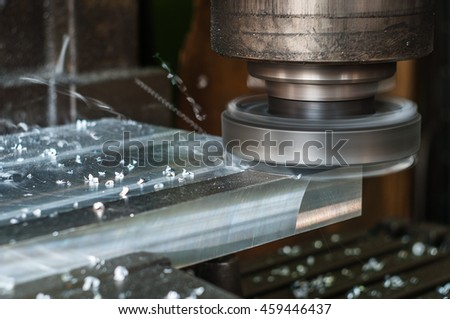 Work on aluminum milling head. Dynamic picture.