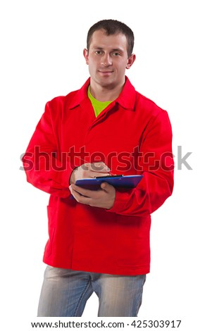 worker holding clipboard looking at camera isolated.
