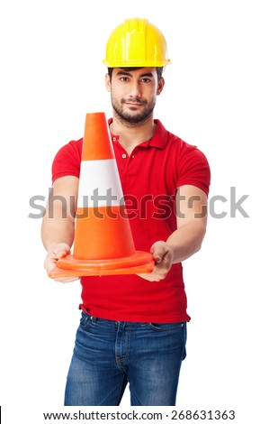 worker man with cone