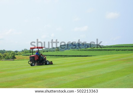 Worker use mower working on the green field