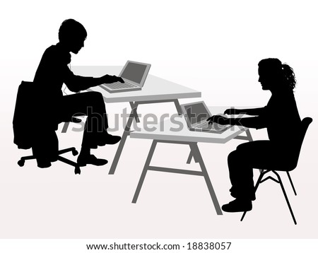 people man sitting at desk working on laptop computer