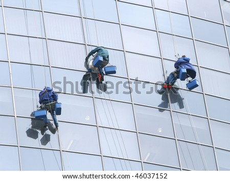 Workers on office building