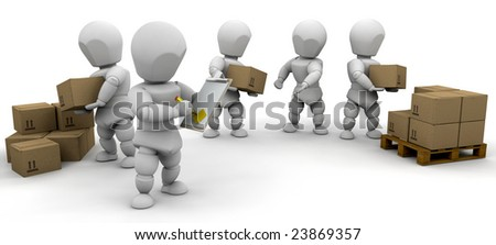 Workers stacking delivery boxes
