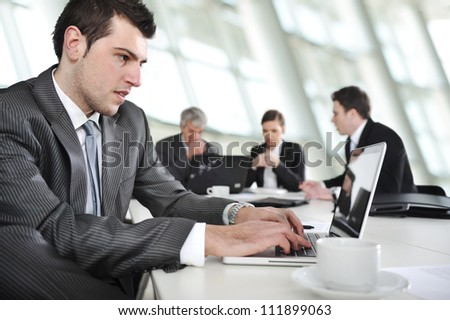 Working laptop during the business meeting