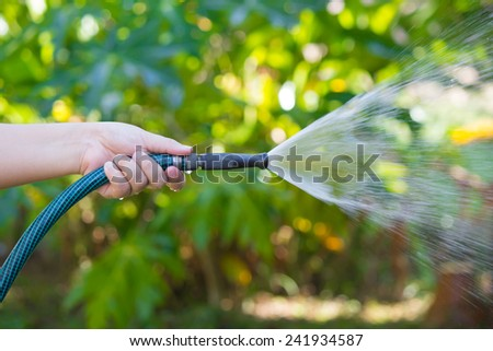 Working watering garden from hose