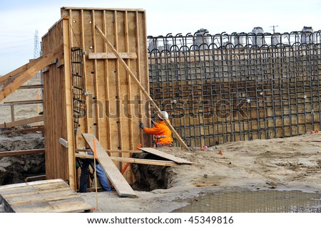 Bridge Construction Project Temporary Wood Forms Stock