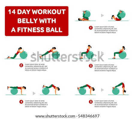 WORKOUT FOR THE BUTTOCKS with fitness ball. Fitness, Aerobic and workout exercise in gym. Set of workout icons in flat style isolated on white background. Fitness ball.