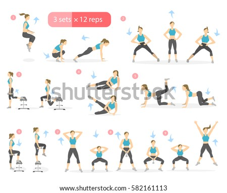 Workout Girl Set Woman Doing Fitness Stock Vector