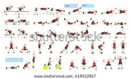 Workout Girl Set Woman Doing Fitness Stock Vector