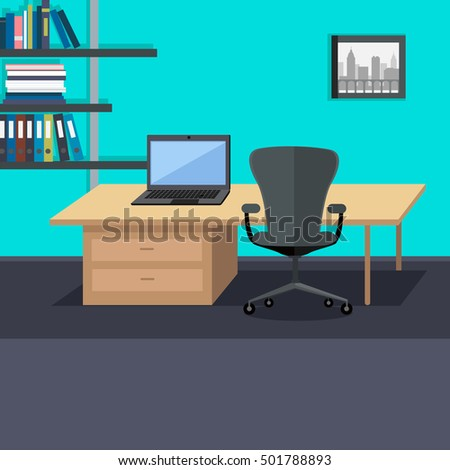 workplace conceptual web banner flat style office room with armchair laptop on the