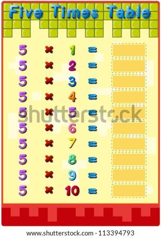 Worksheet 2 Times Tables Stock Illustration 113394790 - Shutterstock