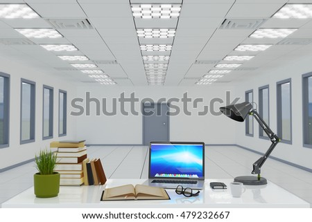Workspace and workplace business concept, empty office interior with nobody, closeup view of office desk with supplies and equipment inside office room, 3d illustration