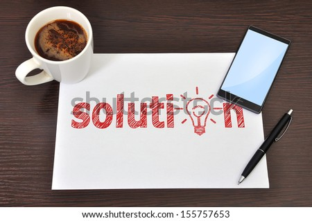 workspace, paper with solution symbol