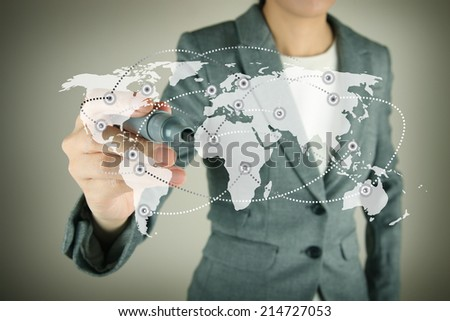 World business touch screen concept