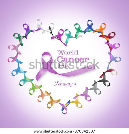 World cancer day February 4 text message announcement, heart shape cycle of multi-color lavender purple colour symbolic ribbons raising awareness of all kind tumors supporting people living w/ illness