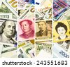 World currency or money collection theme set, collage set of four faces on banknotes - stock photo