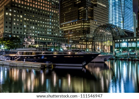 World Financial Center marina in the Downtown Manhattan at night.