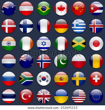 World flags collection. 36 high quality round glossy icons. Correct color scheme. Perfect for dark backgrounds.
