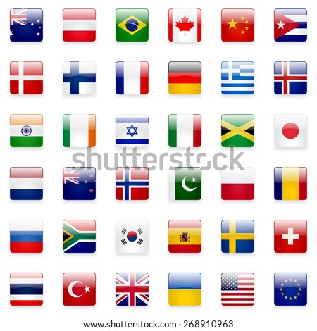 World flags collection. 36 high quality square glossy icons. Correct color scheme.