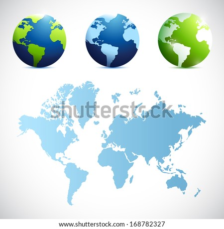 world map and globes illustration design over a white background