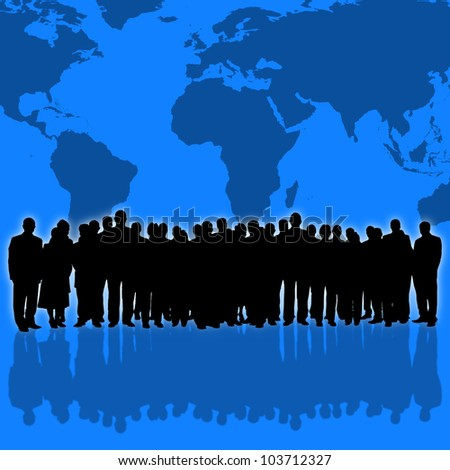 world map background and business people silhouette