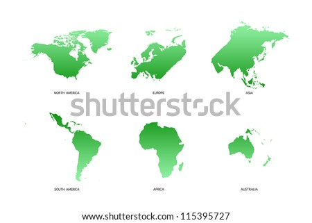 World Map 6 continents on white background