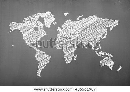 World map drawing on the blackbloard