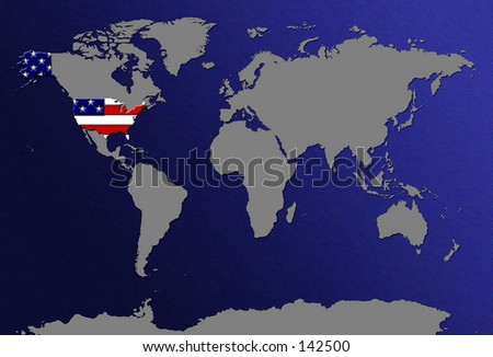 World Map Highlight Us Canada Flag Stock Illustration - Highlight us map