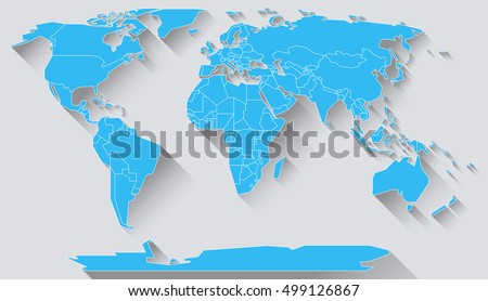 World Map Basic Shapes All Continents Stock Illustration - Basic world map