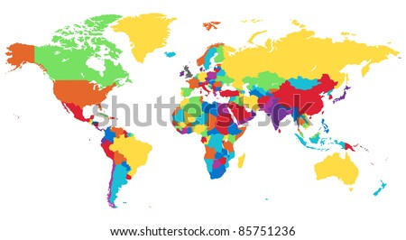 World map in rainbow colors.