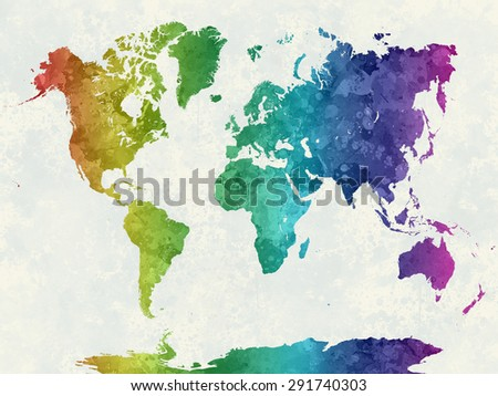 World map watercolor painting abstract splatters stock world map in watercolor painting abstract splatters rainbow gumiabroncs Choice Image