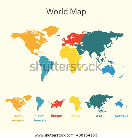 Color world map vector illustration empty vectores en stock world map infographics template of world map with continents gumiabroncs Gallery