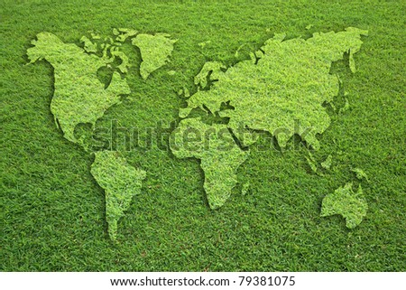 world map on grass field texture