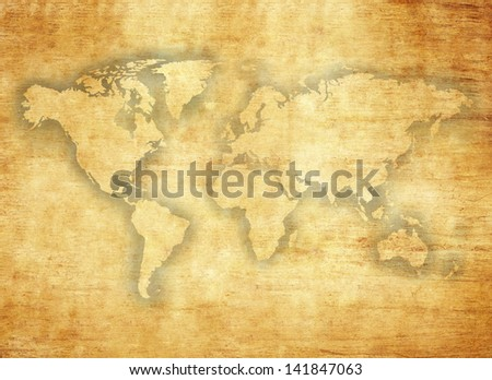 world map on papyrus paper