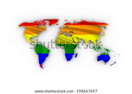World map showing a rainbow flag and including a clipping path.