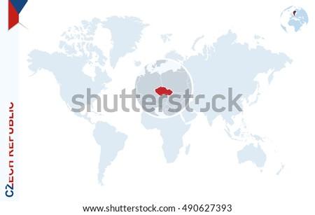 World Map Magnifying On Czech Republic Stock Vector - World map in czech language