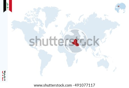 World map magnifying on iraq blue vectores en stock 419275753 world map with magnifying on iraq blue earth globe with iraq flag pin zoom gumiabroncs Gallery