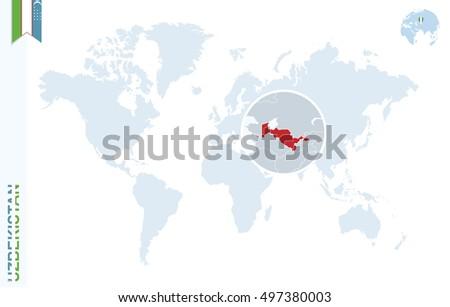 World map magnifying on uzbekistan blue vectores en stock 421334938 world map with magnifying on uzbekistan blue earth globe with uzbekistan flag pin zoom gumiabroncs Images