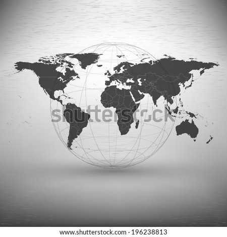 world map with the shadow on gray background illustration