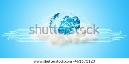 World over a cloud with modern connections '3D rendering'