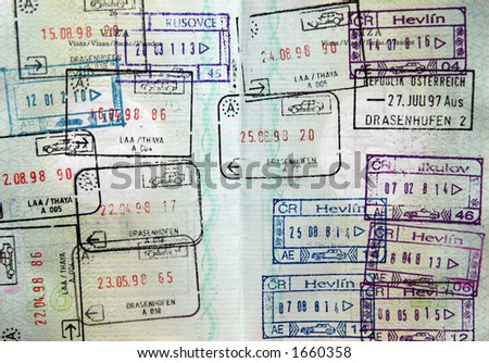 World passport visa stamps