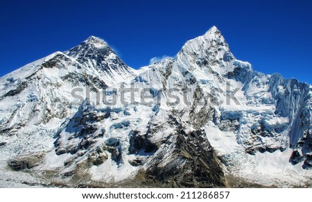 World's highest mountain, Mt Everest (left, 8850m) and Mt. Nuptse (right) in the Himalayas, Nepal