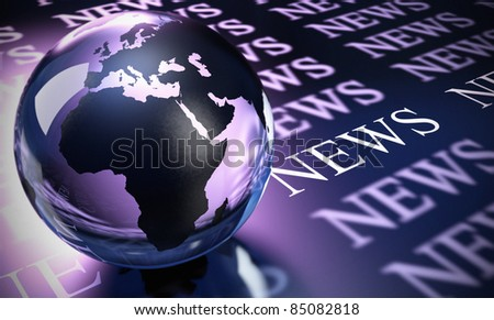 World sphere made in glass and the word news image is blue and purple toned