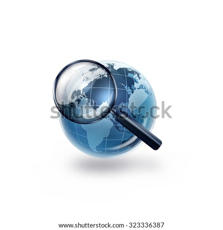world with magnifying glass - Conceptual image